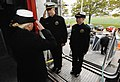 US Navy 071115-N-4308O-001 Mineman 1st class Rebecca Diehl returns a salute to a midshipman, giving him permission to come aboard the High Speed Vessel (HSV) 2 Swift. Swift.jpg