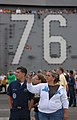 US Navy 081120-N-2344B-080 Civilians participating in a Tiger Cruise get their first opportunity to see flight operations during an air show rehearsal aboard the Nimitz-class aircraft carrier USS Ronald Reagan (CVN 76).jpg