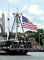 US Navy 090704-N-1928O-048 USS Constitution, the world's oldest commissioned warship, returns to her berthing at the Charlestown Navy Yard after firing 21-gun and 19-gun salutes in Boston Harbor.jpg