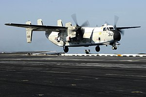US Navy 100120-N-3038W-345 A C-2A Greyhound assigned to the Providers of Carrier Logistics Support Squadron (VRC) 30 launches from the aircraft carrier USS Nimitz (CVN 68).jpg