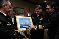 US Navy 100510-N-8721D-003 Vice Adm. John M. Bird and Capt. Rudy Lupton present Capt. 1st Rank Eduard Moskalenko with a gift during a tour of the Russian ship.jpg