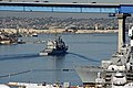 US Navy 110204-N-ZC343-520 USS Mobile Bay (CG 53) passes under the Coronado Bridge as it departs Naval Base San Diego.jpg