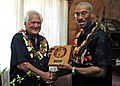 US Navy 110415-F-HS649-307 Capt. Jesse A. Wilson, right, mission commander of Pacific Partnership 2011, presents a plaque to Lord Sevele Vailahi, A.jpg