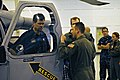 US Navy 111026-N-XO436-081 NASCAR driver Michael Waltrip, left, visits the Fleet Angels of Helicotper Sea Combat Support Squadron (HSC) 2.jpg