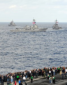 US Navy 111209-N-QL471-634 U.S. Navy ships cruse together during a sea power demonstration.jpg