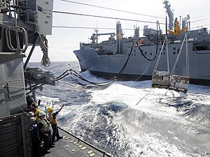 US Navy 111211-N-BC134-345 Sailors aboard the guided-missile cruiser USS Bunker Hill (CG 52) guide pallets of supplies onto the ship during an unde.jpg