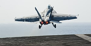 US Navy 120108-N-OY799-069 An F-A-18F Super Hornet from the Black Aces of Strike Fighter Squadron (VFA) 41 launches off the flight deck of the Nimi.jpg