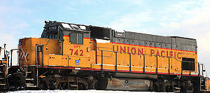 EMD GP15-1 - Union Pacific Yard (UPY)742, a GP15-1 idles in Union Pacific's Global 1 intermodal yard in Chicago, IL.