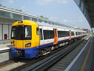 East London line extension - A new Class 378 train at Hoxton