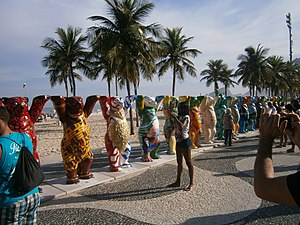 Leme, Rio de Janeiro - The famous United Buddy Bears exhibit was held on the Copacabana promenade, in Leme, just in time for the 2014 soccer World Cup.