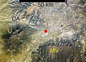 Ute Mountain -  Ute Mountain (U), just west of Cortez, Colorado (red dot) and Mesa Verde National Park (MV), and separated from Canyons of the Ancients National Monument (CA) to the north by McElmo Creek.