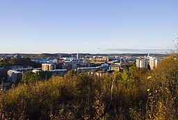 Vy fra Norra Guldheden, oktober 2010.   Nilssonsberg findes i midten af billedet.