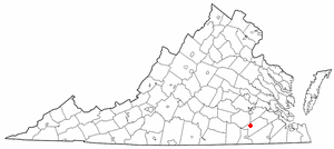 Stony Creek, Virginia - Image: VA Map doton Stony Creek