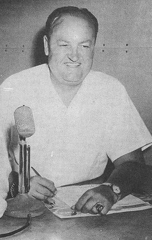 Van Patrick - Van Patrick in the Detroit Tigers broadcast booth (1957)
