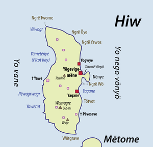 Hiw Island - A detailed map of Hiw, showing modern villages (red) and ancient, now uninhabited villages (pink)
