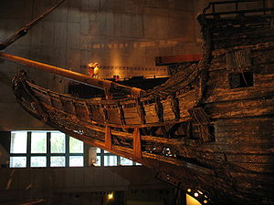 Cathead - The 17th century warship Vasa with cathead visible upper middle right.