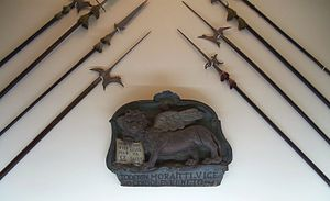 """Kingdom of the Morea - Venetian Lion of Saint Mark and halberds from the time of the """"Kingdom of the Morea"""" in the National Historical Museum, Athens."""