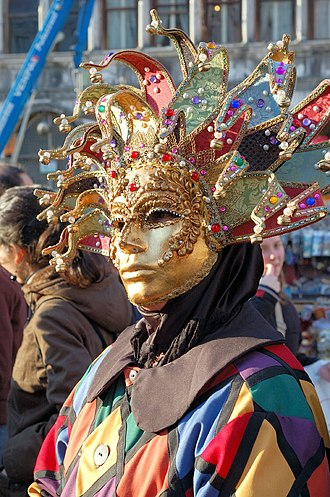 L'Orfeide - A modern-day masked harlequin at the Carnival of Venice. On the eve of Ash Wednesday, a mock funeral is held to mark the death of the carnival and the beginning of Lent – the subject of the 7th song,  L'alba delle ceneri