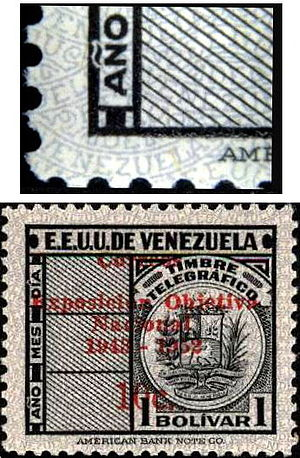 Underprint - Underprinting on a Venezuela 1952 1b stamp.