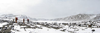 Vestfold Hills - A panoramic view of the northern end of Stinear Lake, in the snow-covered Vestfold Hills, Antarctica.