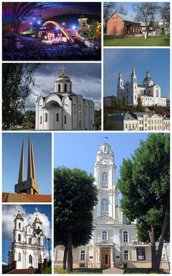 Top left:View of International Art Festival of Slavyansky Bazaar in Mayakovsky Street, Top right:Marc Chagall Museum in Pakrouskaja, Middle left:Vitebsk Annunciation Church in Castle Street, Middle right:Vitebsk Assumption Cathedral, Bottom upper left:A monument of soldiers victim of Second World War at Vitebsk Victory Square, Bottom lower left:Church of Resurrection Christ, Bottom right:Vitebsk City Hall (Ratusha)