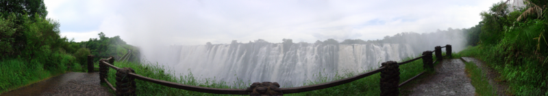 The Victoria Falls, Livingstone, Zambia: A panoramic view from the Zambian side near the Knife-edge bridge