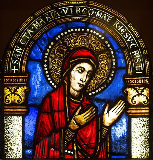 Vierge Marie -- A 12th-century Romanesque stained glass window of Virgin Mary in the Musée de l'Oeuvre Notre-Dame de Strasbourg