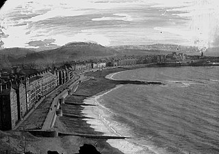 View of Aberystwyth sea front looking south from Constitution hill