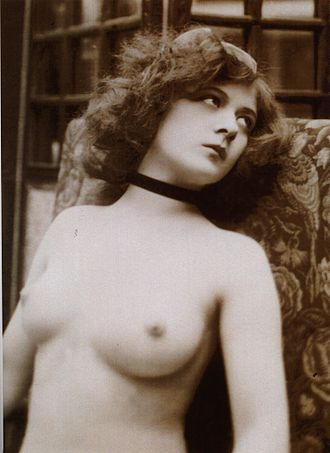 19th-century nude photograph Vintage nude bust photograph of a young denuded lady.jpg