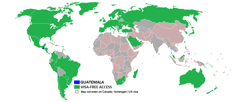Visa policy of Guatemala - Wikipedia on ireland us map, netherlands us map, malawi us map, ukraine us map, mount mckinley us map, el salvador us map, chile us map, italy us map, yukon river us map, portugal us map, central time zone us map, egypt us map, caribbean us map, jersey us map, olympic mountains us map, moldova us map, united states us map, myrtle beach south carolina us map, martinique us map, north america us map,