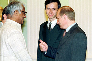 George Fernandes - Fernandes (left) with Russian President Vladimir Putin in 2000
