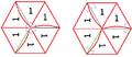 Vorderseite eines Flexagons vor dem Pinch und Rückseite des Flexagons nach dem Pinch.png