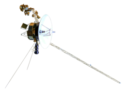 Model of the Voyager spacecraft, a small-bodied spacecraft with a large, central dish and many arms and antennas extending from it