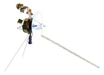 Model of a small-bodied spacecraft with a large, central dish and many arms and antennas extending from it