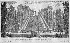 Château de Rueil - Image: Vue en face de la grande cascade des jardins du château de Ruel