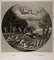 Vulcan in his forge with Jupiter throwing bolts of lightning Wellcome V0017042.jpg