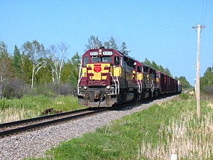 Wisconsin Central Ltd. - Image: WC 7510 leads a short manifest train westbound across Michigan's Upper Peninsula