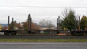Portland and Western Railroad - WPRR 62001 (ex BCOL 10276) log flat seen in the PNWR Toledo Hauler at PNWR Toledo District MP 698.05.