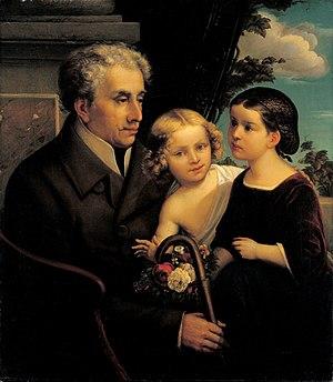 Alexander Haindorf - Haindorf and his grandchildren, painted by Caspar Göke in 1854