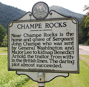 John Champe (soldier) - Historical marker near Champe's last residence in what is now Pendleton County, West Virginia. (The reference to his grave is an error.)
