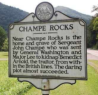 Champe Rocks - Champe Rocks marker.