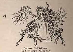 "Laurence Waddell - A Chinese Horse-Dragon, Reproduced in Waddell's, ""The Buddhism of Tibet: Or Lamaism, with Its Mystic Cults, Symbolism and Mythology ..."", 1895. Unknown Chinese artist."