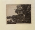 Waiting Woman in pioneer costume posed in tranquil country scene (HS85-10-11544) original.tif