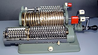 Accumulator (computing) - Walther WSR-16 mechanical calculator. The row of digit-wheels in the carriage (at the front), is the Accumulator