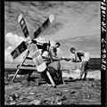 Washing machines used on Eniwetok Island. Even the Marine inventors of the wind-driven machine admit it isn't yet... - NARA - 520725.jpg