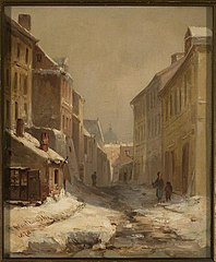 Stara Warszawa zimą - ulica Brzozowa
