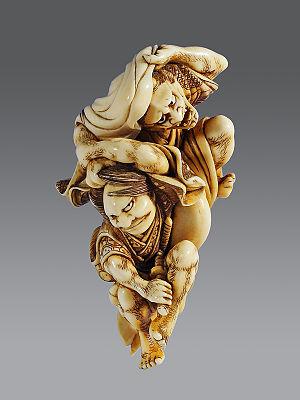 Watanabe no Tsuna - Watanabe no Tsuna and Demon of Rashomon, carver Otoman, circa 1830, ivory, height 72 mm