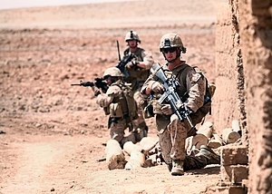 2nd Battalion, 10th Marines - U.S. Marines with Golf Battery, 2nd Battalion, 10th Marine Regiment (2/10) set up security and await an explosive ordnance disposal team during a patrol through local Afghan settlements in Habbib Abad, Afghanistan, May 28, 2012