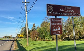 Ithaca (town), New York - A sign on Dryden Road welcomes visitors to the Town of Ithaca