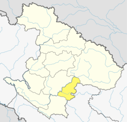Location of West Rukum District (dark yellow) in Karnali